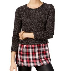SANCTUARY Red Plaid Mixed-Media Tunic Sweater